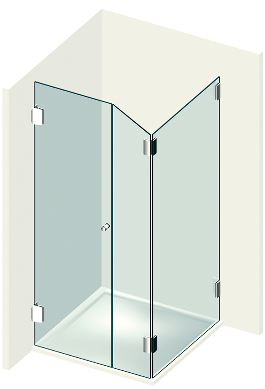 Cornershower type 203 (A) opening outwards